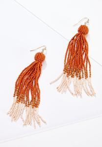 Orange Cream Fringe Earrings