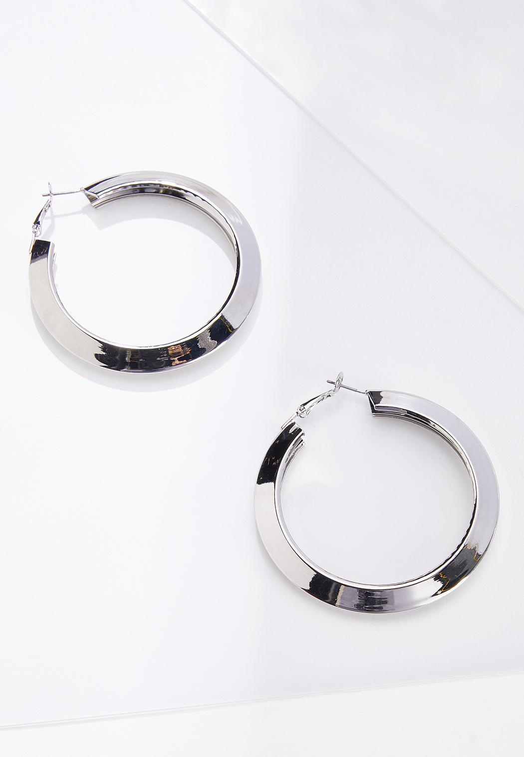 Flat Edge Hoop Earrings