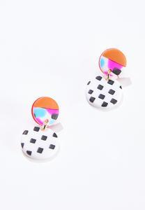 Mod Check Clay Earrings