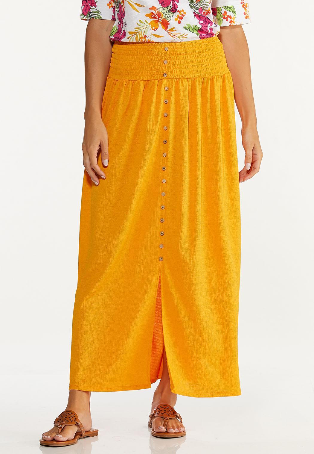 Plus Size Smocked Gauze Maxi Skirt