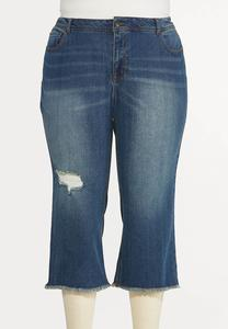 Plus Size Cropped Distressed Flare Jeans