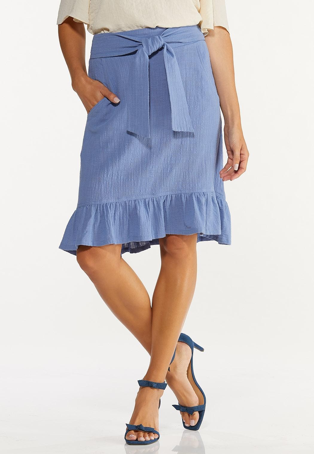 Ruffled Tie Waist Skirt