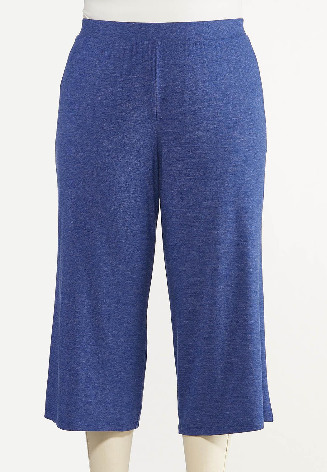 Plus Size Cropped Vintage Blue Pants