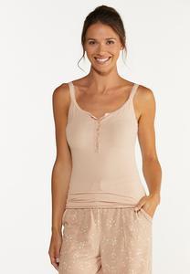 Plus Size Blush Lace Trim Tank