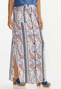 Paisley Button Front Maxi Skirt