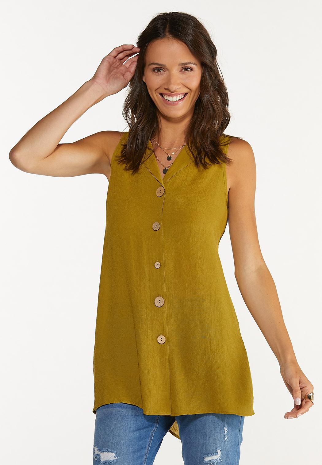 Olive Button Front Tunic