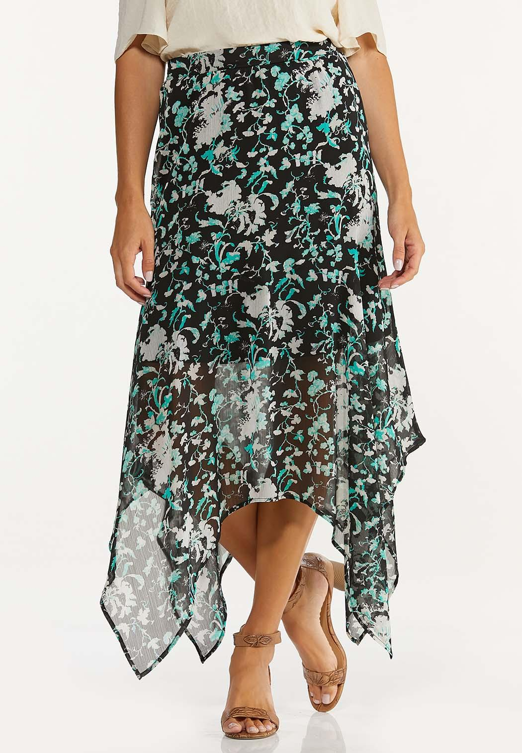 Textured Floral Hanky Hem Skirt