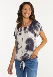 Plus Size Knotted Tie Dye Top