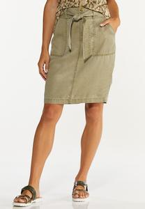 Plus Size Olive Pencil Skirt