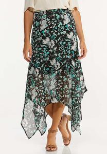 Plus Size Textured Floral Hanky Hem Skirt