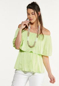 Plus Size Pleated Flounced Top