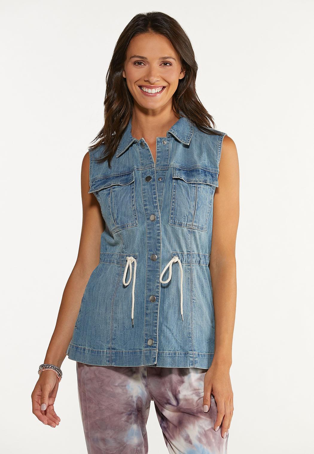 Plus Size Denim Cinch Waist Vest