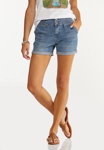 Double Button Denim Shorts