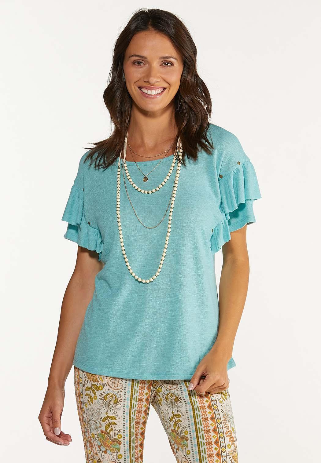 Ruffled Stud Embellished Top