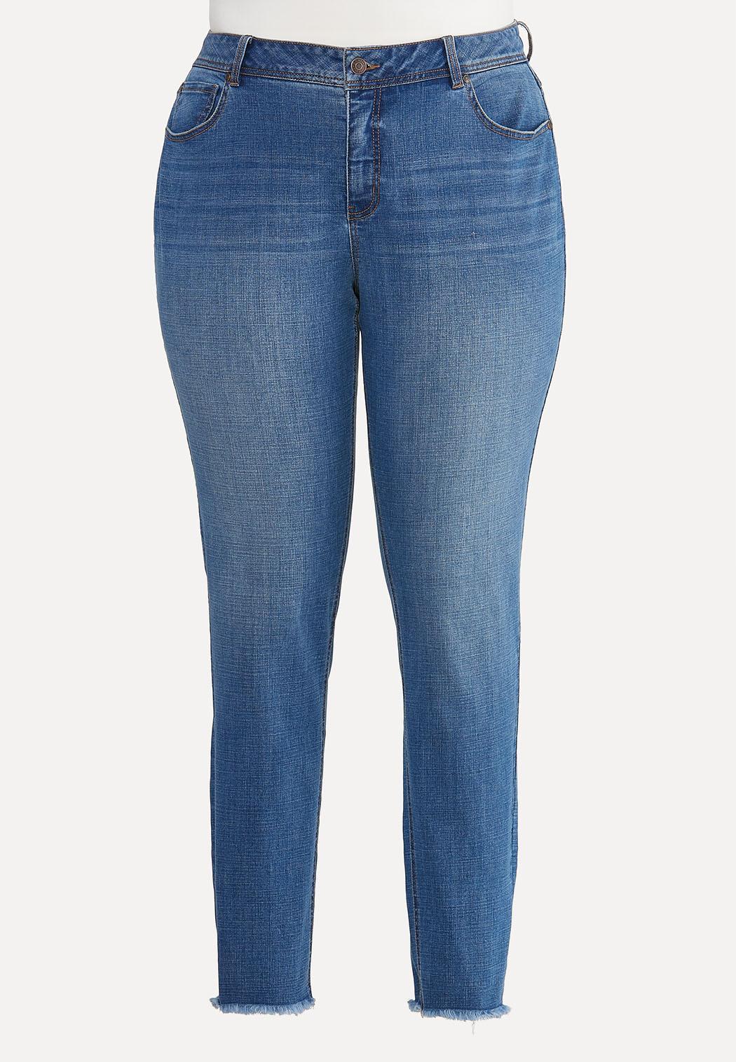 Plus Size Frayed Skinny Jeans