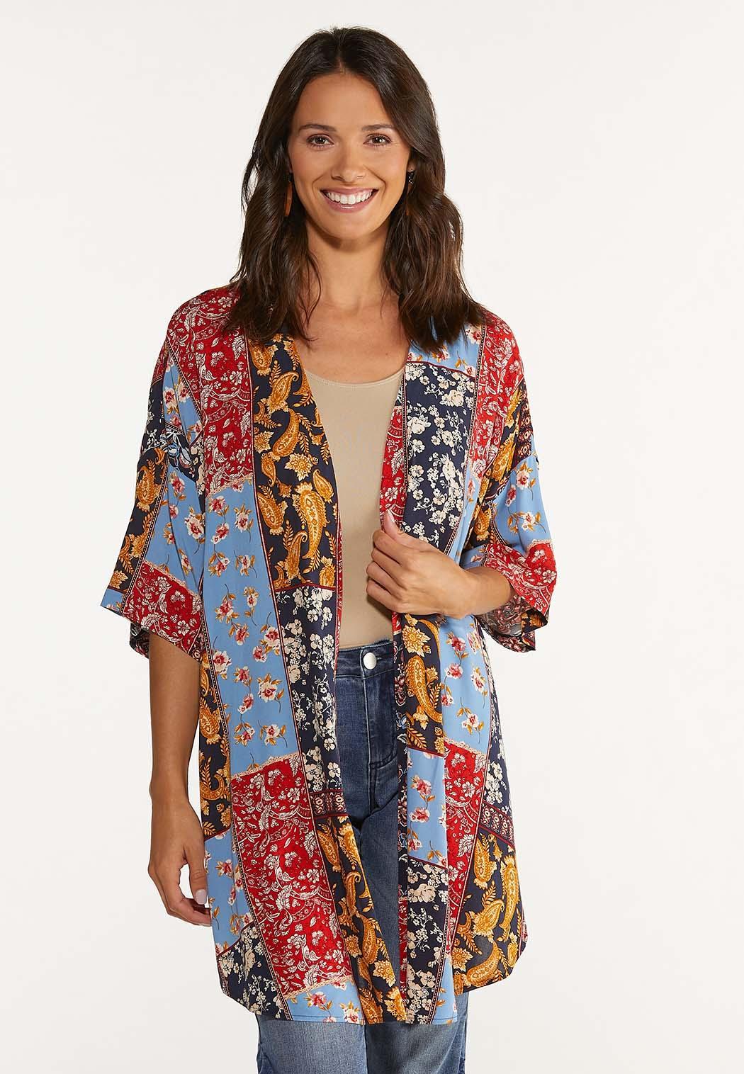 Plus Size Patchwork Kimono