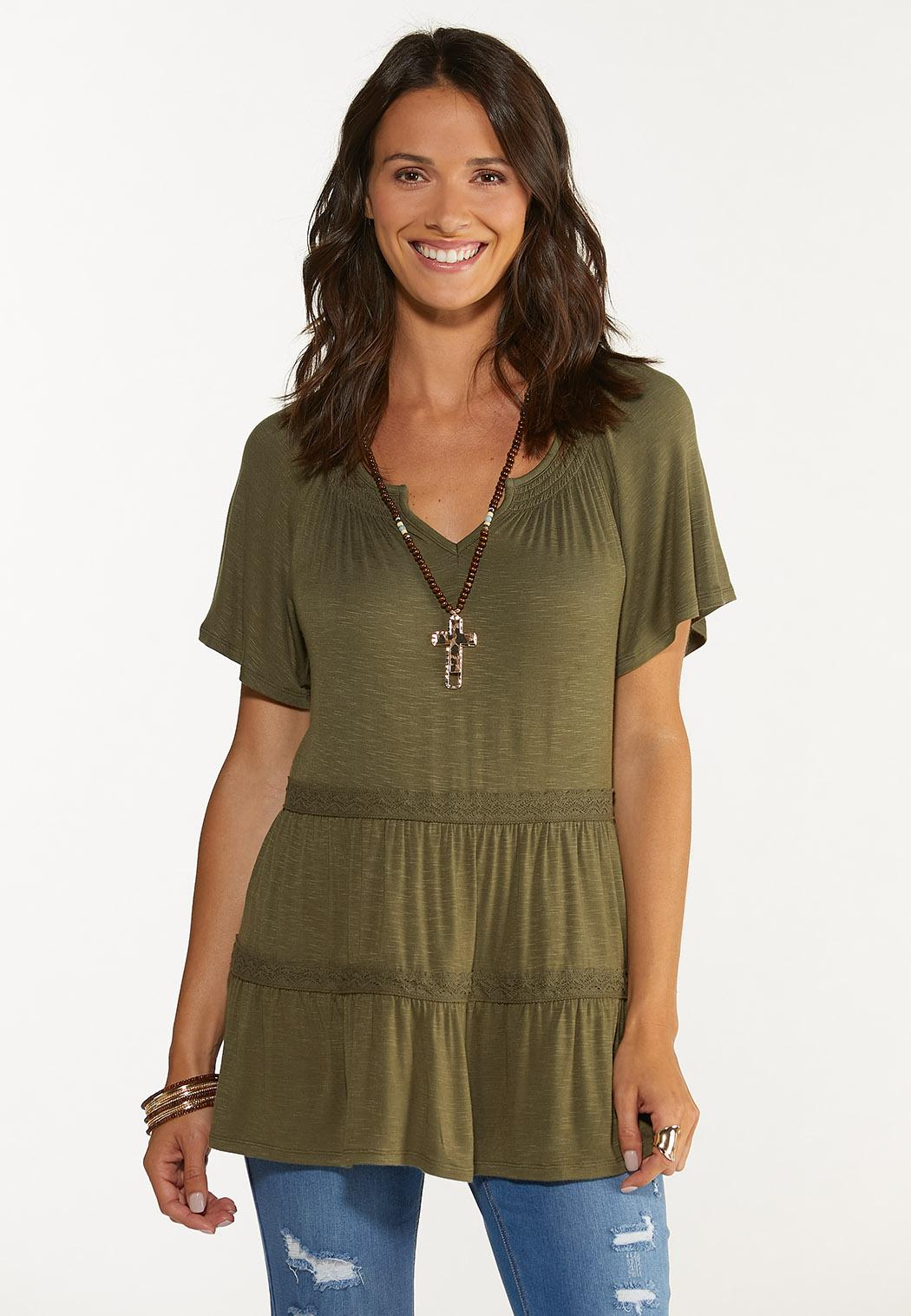 Plus Size Olive Tiered Top