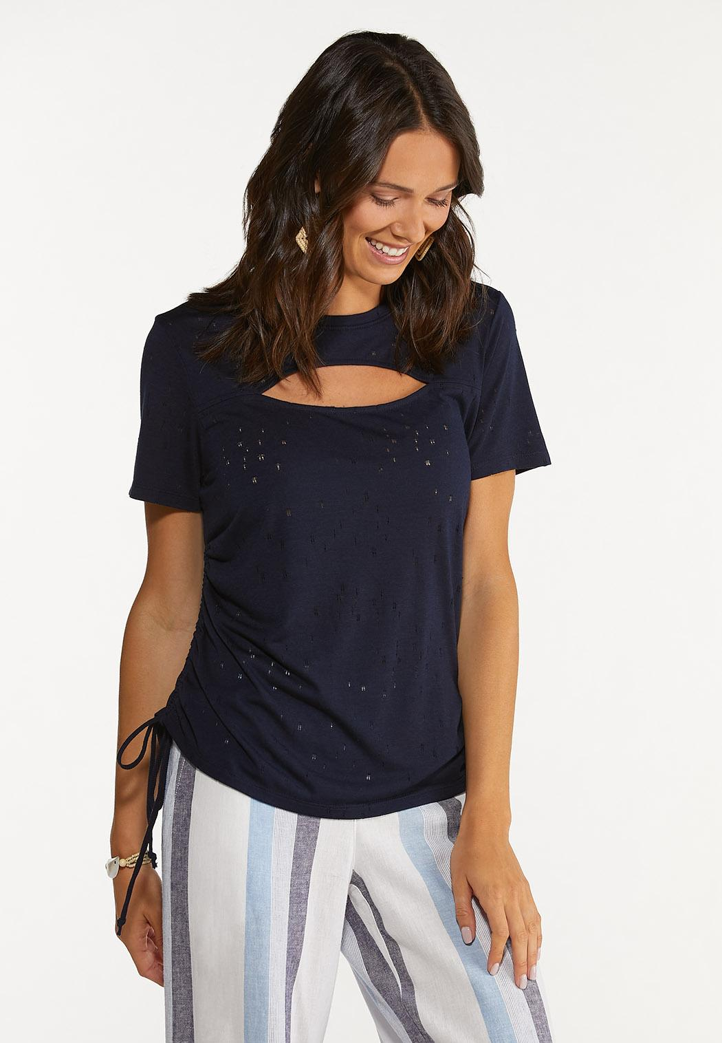 Plus Size Cutout Ruched Sleeve Tee