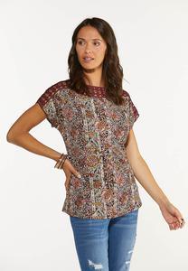 Plus Size Wine Floral Crochet Trim Top