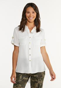 Plus Size Solid High-Low Top