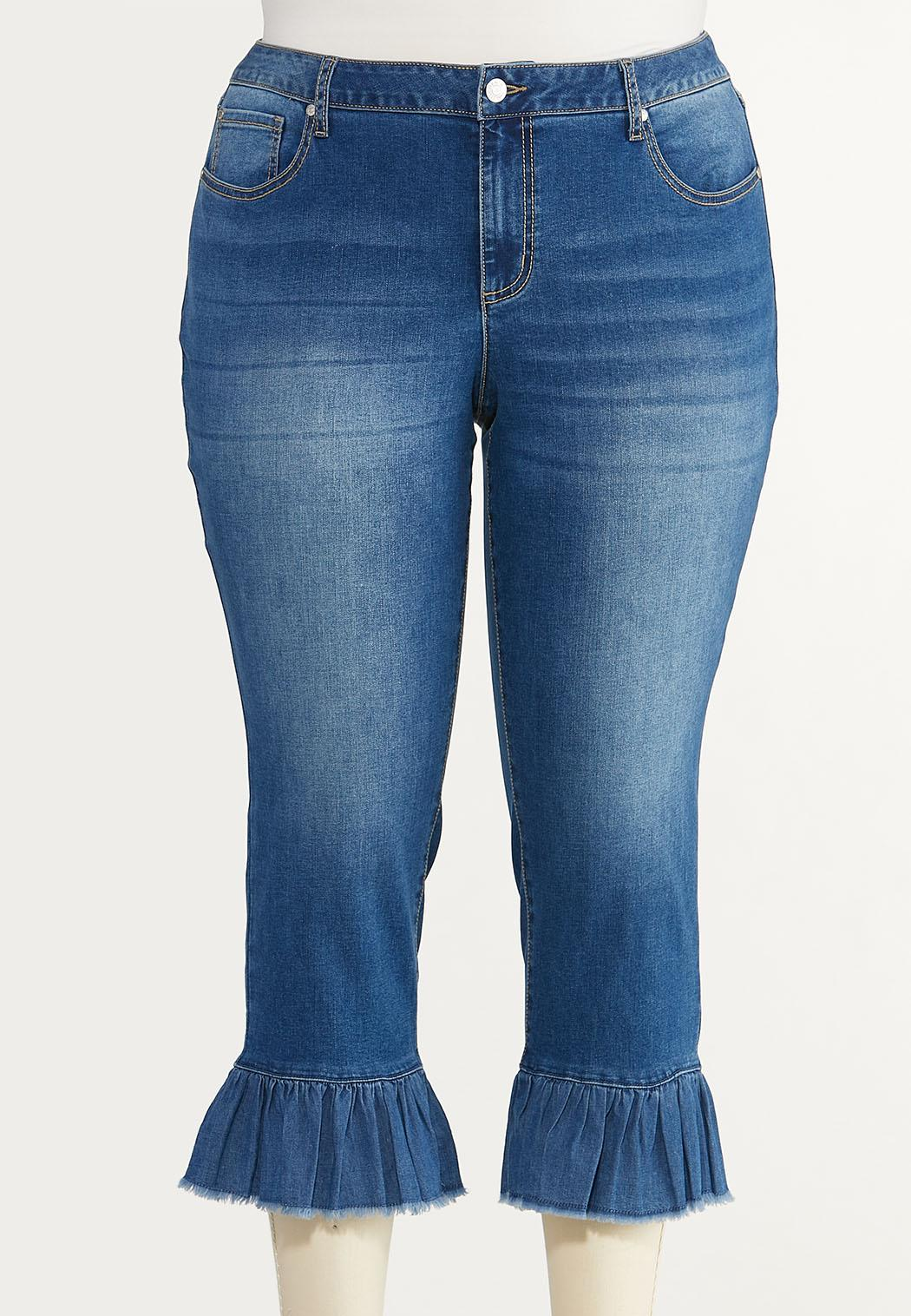Plus Size Cropped Ruffled Jeans