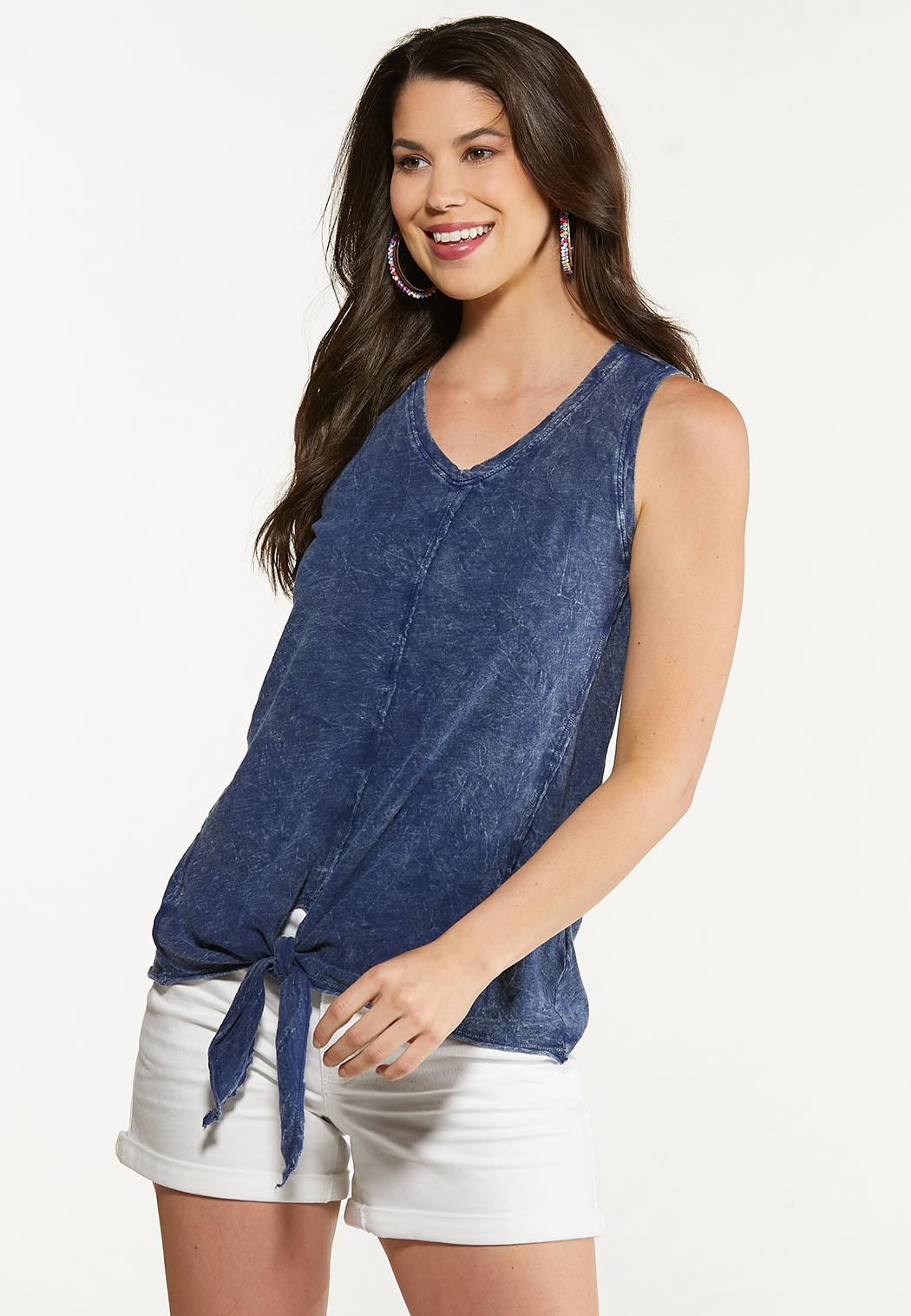 Plus Size Faded Tie Front Tank