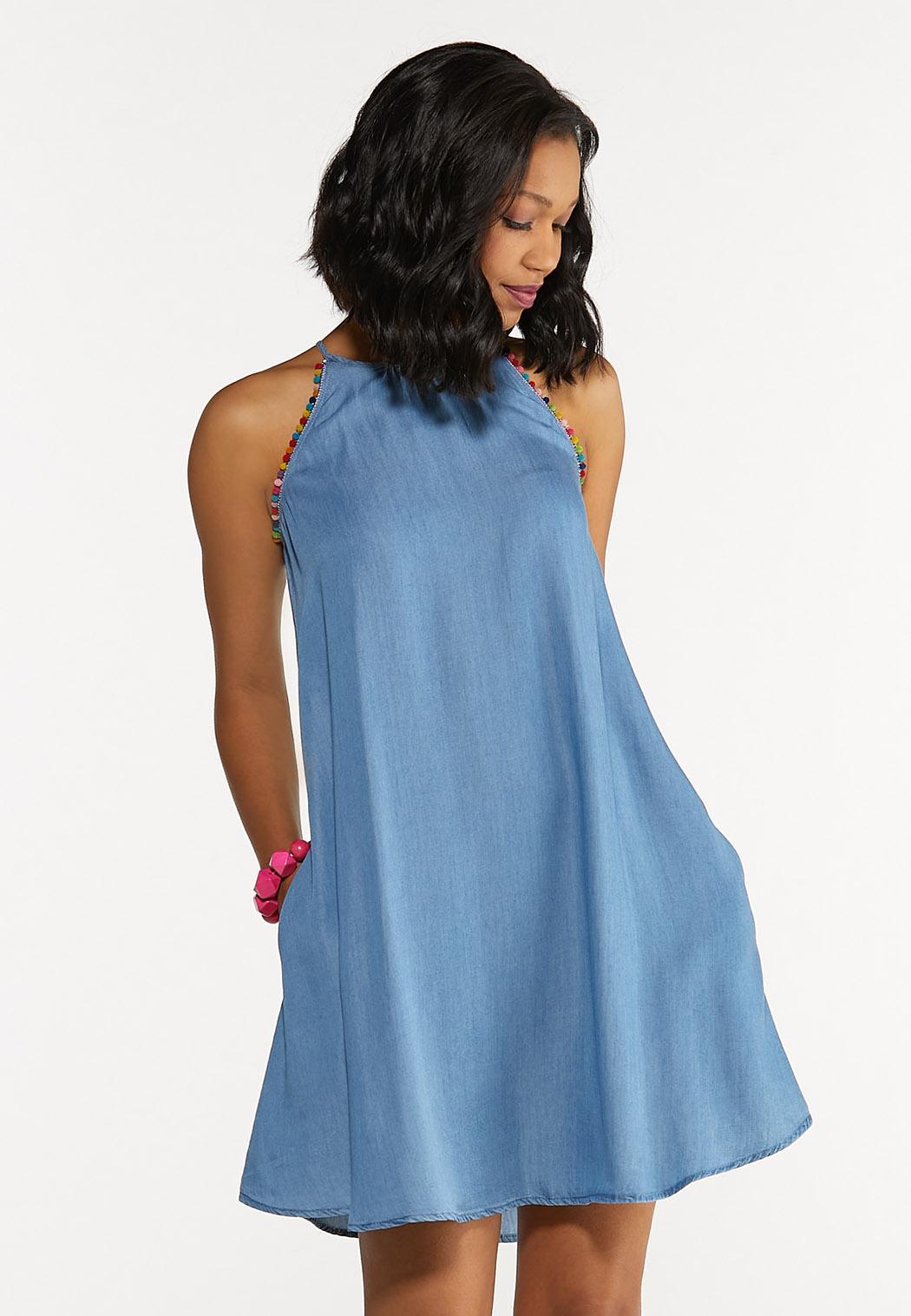 Chambray Pom-Pom Swing Dress