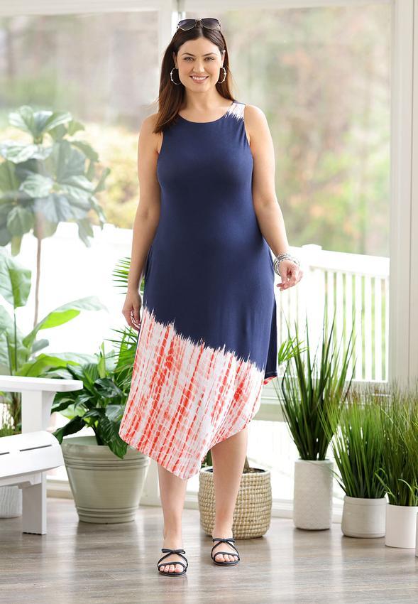 Plus Size Americana Tie Dye Midi Dress