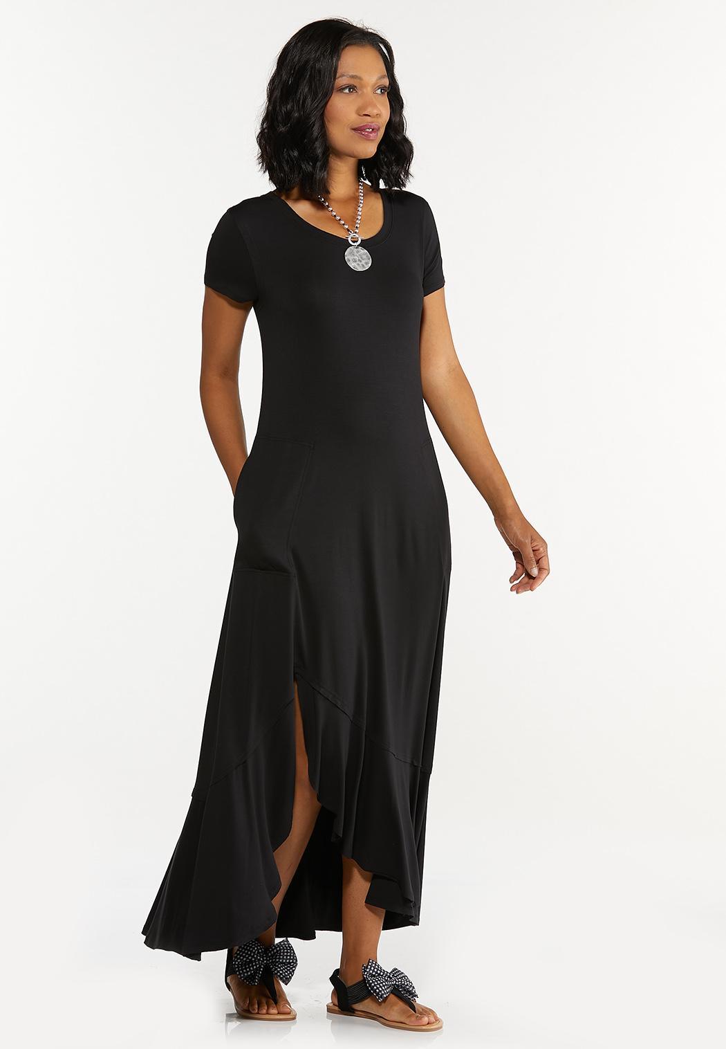 Black Ruffled Maxi Dress