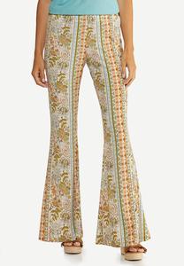 Petite Retro Floral Flare Pants
