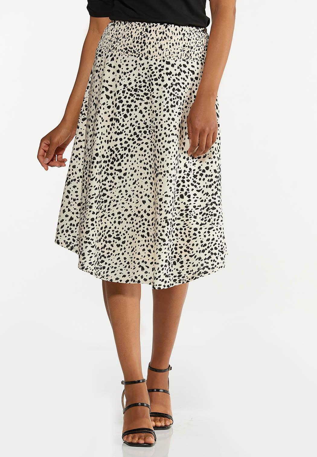 Plus Size Textured Animal Print Skirt