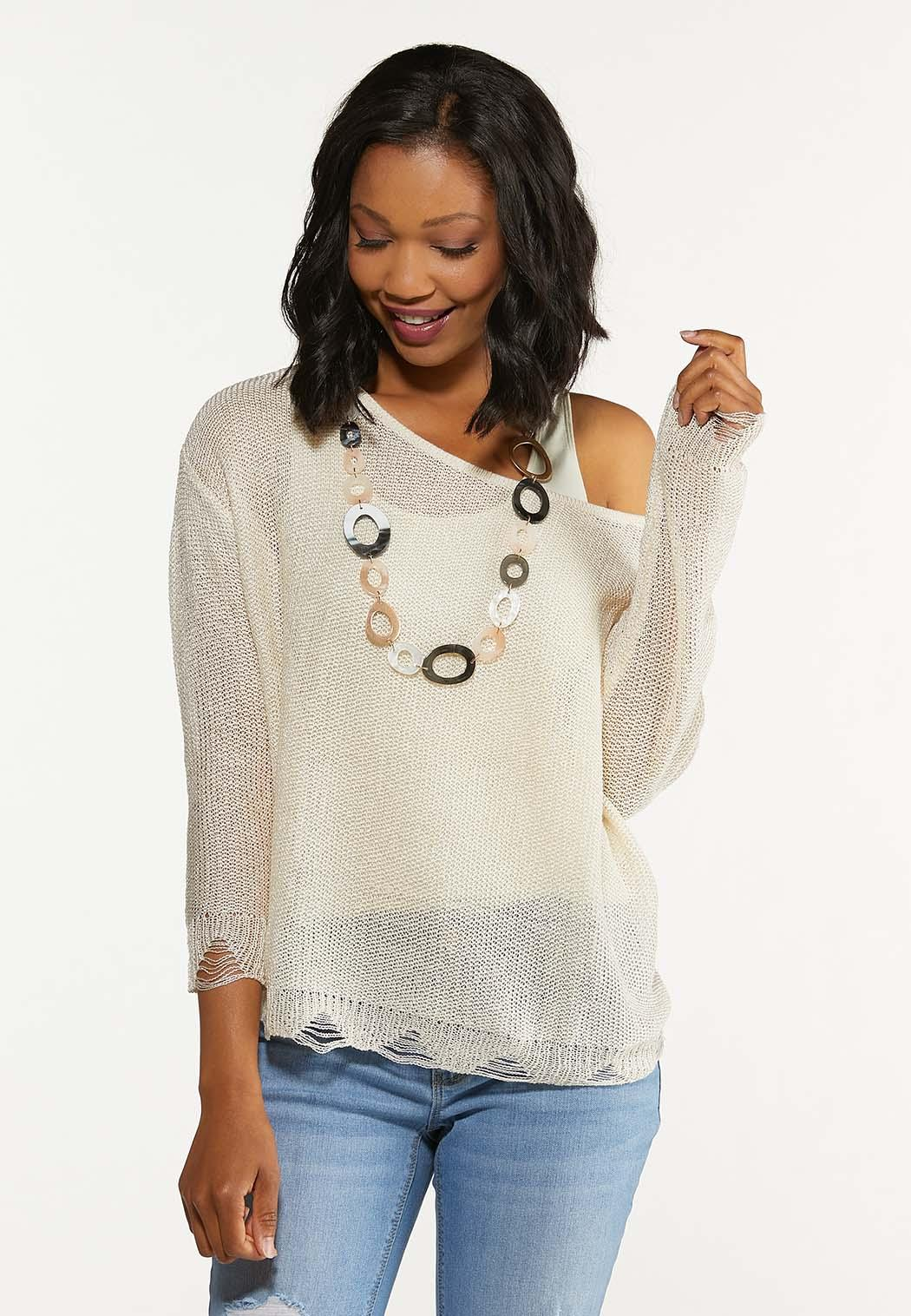 Distressed Scalloped Sweater