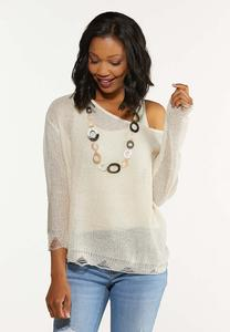 Plus Size Distressed Scalloped Sweater