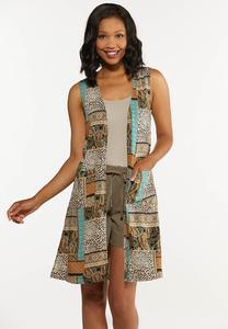 Mixed Patchwork Print Vest