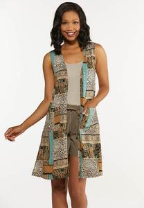Plus Size Mixed Patchwork Print Vest