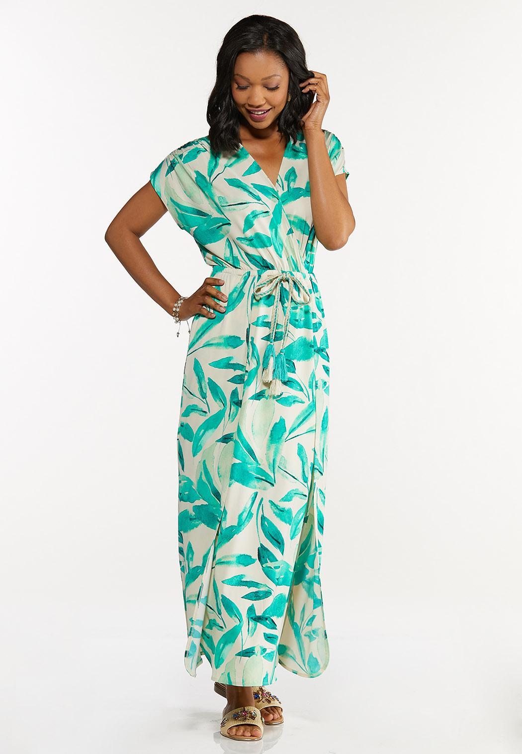 Plus Size Tasseled Leaf Maxi Dress