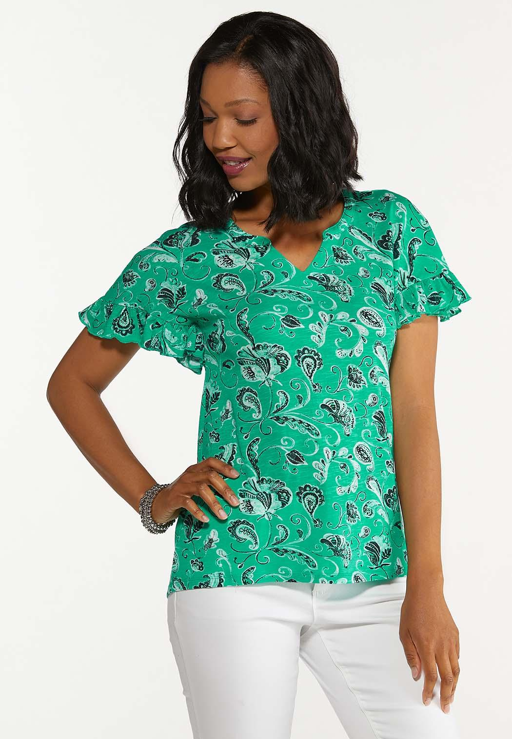 Plus Size Floral Ruffled Sleeve Top