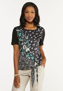 Mixed Floral Tie Waist Top