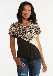 Plus Size Leopard Colorblock Tie Tee