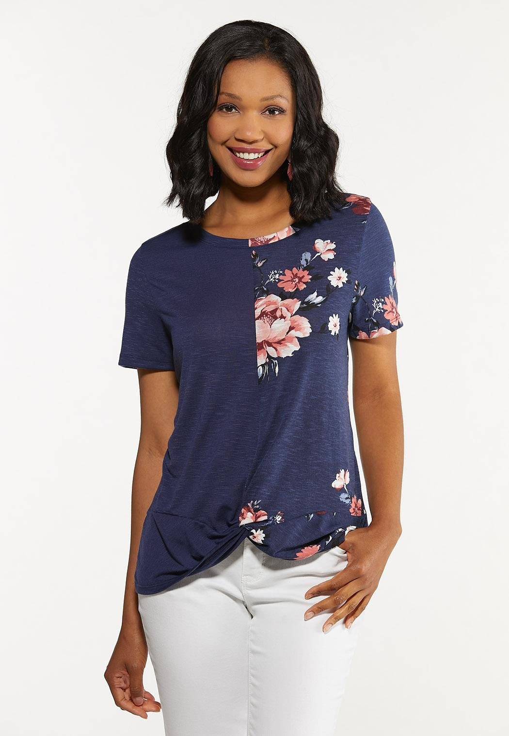 Plus Size Twisted Floral Tee