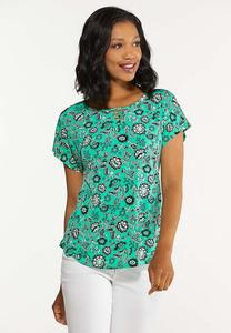 Plus Size Green Floral Top