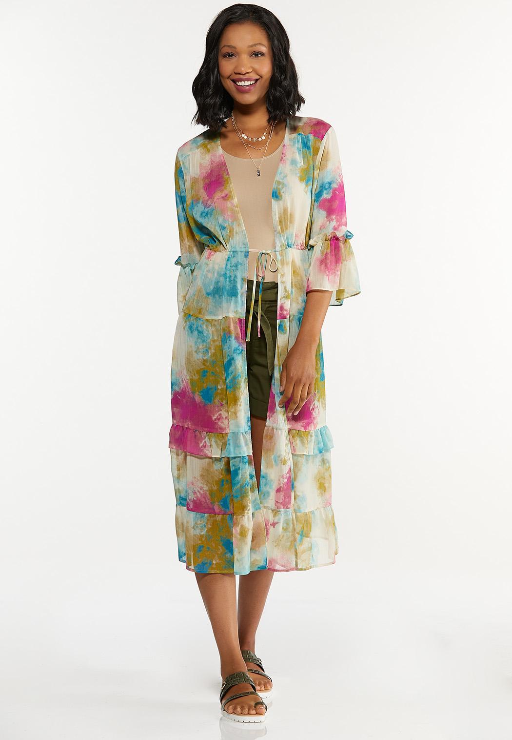 Plus Size Tiered Watercolor Kimono
