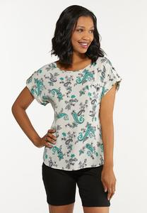 Paisley Front Pocket Top