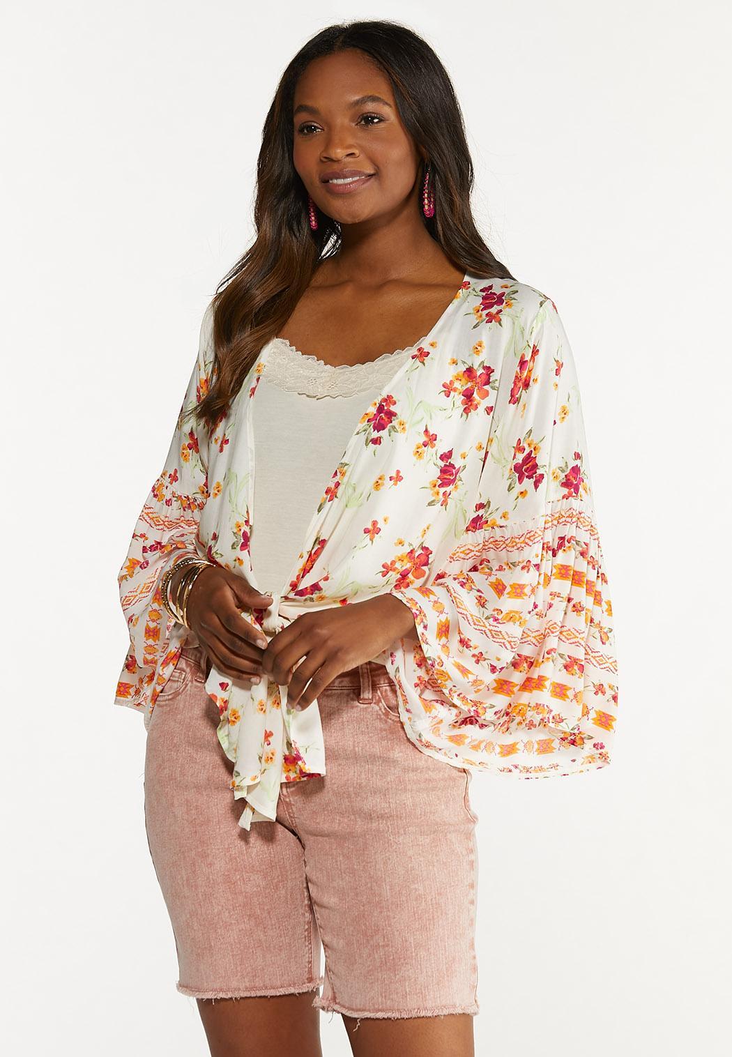 Plus Size Floral Tie Front Cardigan Top