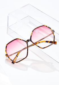 Pink Lens Tortoise Trim Sunglasses