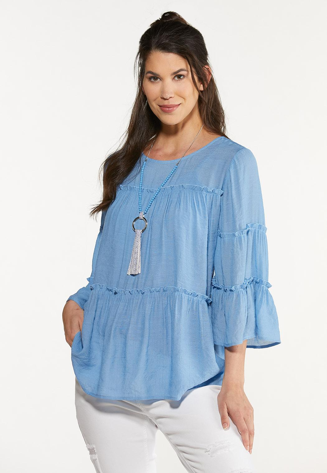 Plus Size Tiered Blue Poet Top