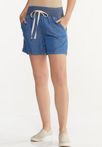 Smocked Chambray Shorts