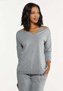 Plus Size Cutout Shoulder Sweatshirt