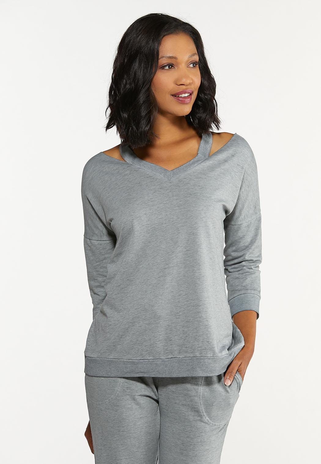 Cutout Shoulder Sweatshirt