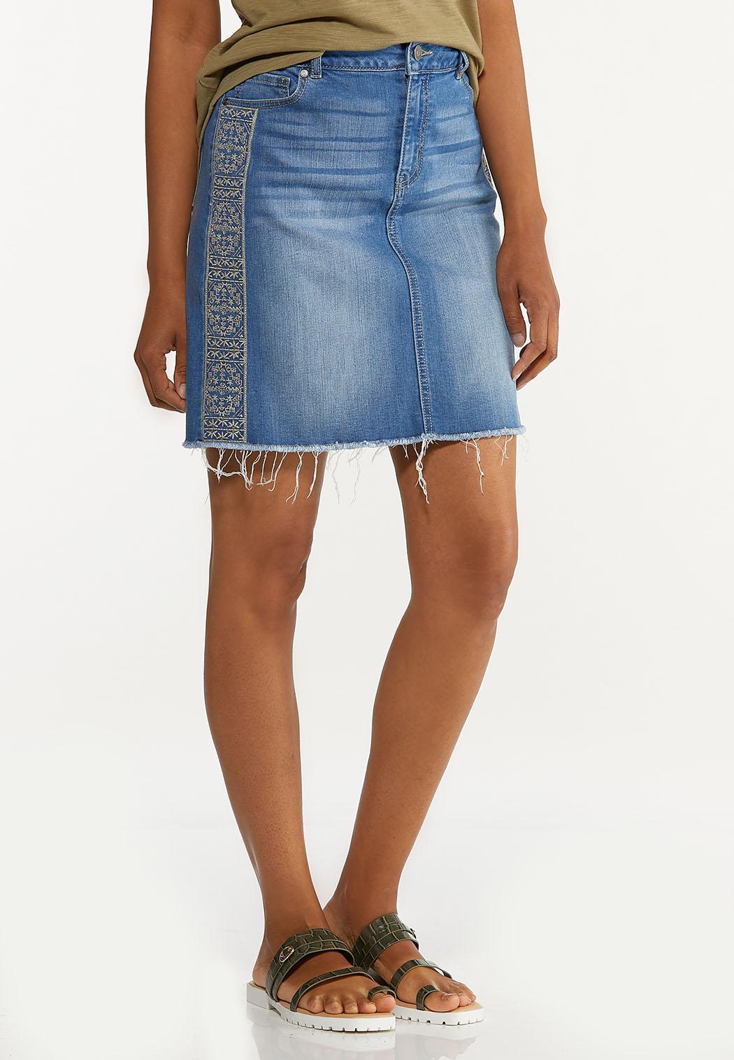 Embroidered Denim Skirt